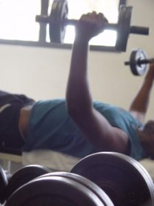 weight training dumbbell fly